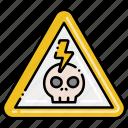 danger, high, skull, voltage
