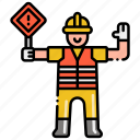 flagger, road, traffic, worker