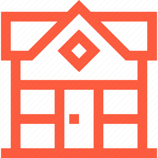 building, exterior, front, home, house, view icon