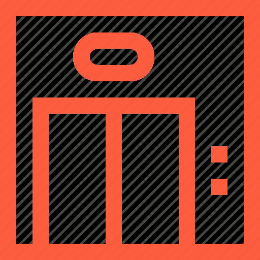 building, door, elevator, enter, frontside, lift icon