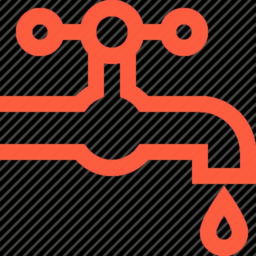 crane, drop, faucet, plumbing, supply, tap, water icon