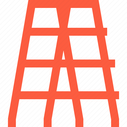 ladder, pair, rung, step, stepladder, tool icon