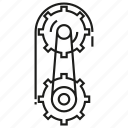 chain, cog, cogwheel, gear, pulley, roller, rotate icon