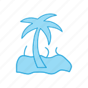 island, palm, travel, trees, tropical, vacation icon