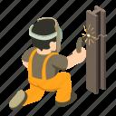 builder, construction, isometric, man, object, welder, worker