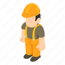 builder, construction, isometric, man, object, person, worker
