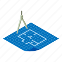 architect, architecture, floor, isometric, object, plan, project icon