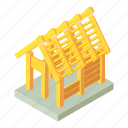 building, construction, industry, isometric, object, site, wood