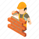 builder, construction, industry, isometric, man, object, worker