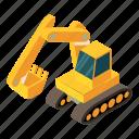 digger, equipment, excavator, heavy, industry, isometric, object