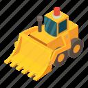 bulldozer, digger, earth, equipment, excavator, isometric, object