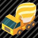 cement, concrete, isometric, mixer, object, truck, vehicle