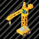 construction, crane, engineering, equipment, isometric, object, truck