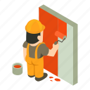 builder, construction, isometric, man, object, painter, worker