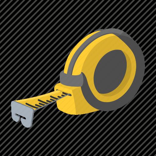 builders, distance, mark, measure, roulette, steel, tape icon