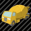 cement, concrete, cute, heavy, mixer, truck, vehicle icon