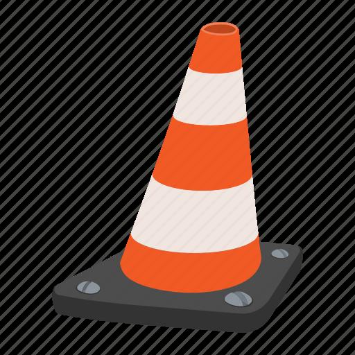caution, cone, orange, plastic, road, striped, traffic icon