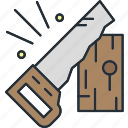 construction, hand, handsaw, saw icon