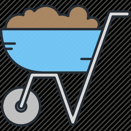construction, equipment, wheelbarrow icon
