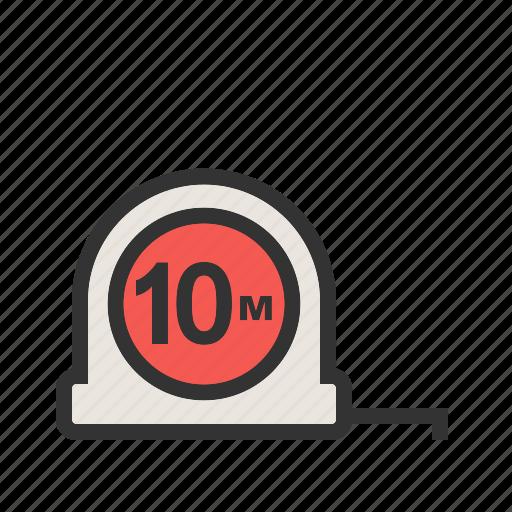 building, construction, equipment, measurement, measuring tape, scale, tool icon