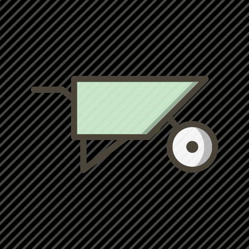 construction, trolley, wheel barrow, wheelbarrow icon