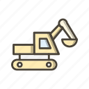 bulldozer, digger, excavator, vehicle icon