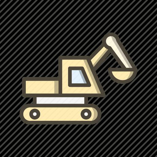 bulldozer, digger, excavator icon