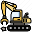 construction, demolish, demolishing, equipment, heavy, machinery, tools, utensils icon