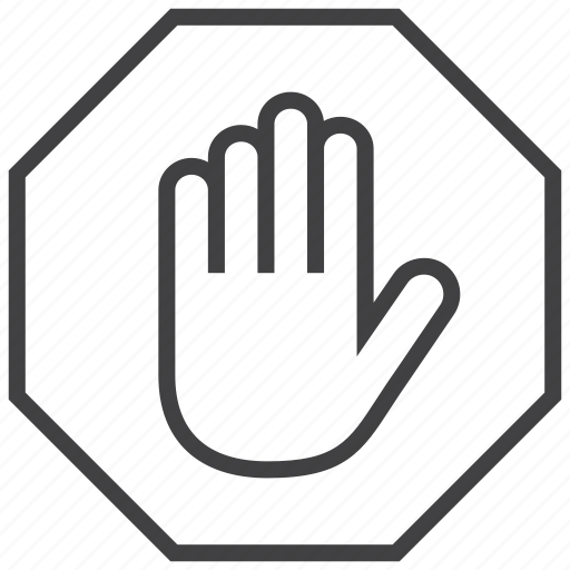hand, sign, stop icon