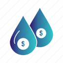 dollar, drop, money, water icon