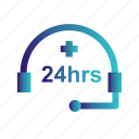 help, hour, online icon