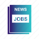 find, jobs, news, paper icon