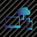 cloud, laptop, mobile, server icon