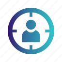 aim, focus, man, target icon