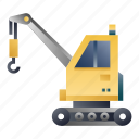 building, construction, crane, engineering, excavator, lifting, machinery icon