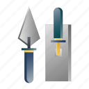 bricklayer, brickwork, cement, construction, masonry, tool, trowel icon