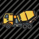 cement, concrete, concreting, construction, mixer, truck, vehicle icon