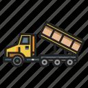 construction, dump, dumper, machinery, truck, vehicle icon