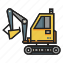 construction, digger, excavation, excavator, industry, machinery, mining icon