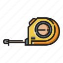 construction, measure, measurement, measuring, tape, tool icon