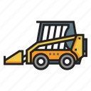 bobcat, bulldozer, construction, loader, machinery, skid, steer icon