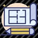 building plan, drawing paper, paper plan, paper report, prototype, sketching paper icon