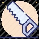carpenter tool, cutting tool, saw, saw tool, wood saw icon