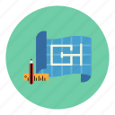 blueprint, construction, design, engineering, layout, plan, project icon