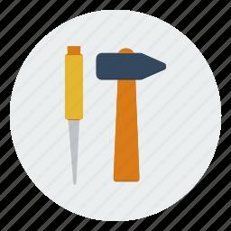 carpentry, construction, hammer, masonry, plumbing, repair, tools icon