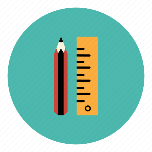 draw, education, measure, pencil, ruler, school, student icon