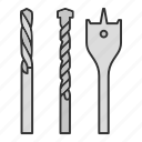 bit, construction tool, drill, drill bits, drilling, electric, kit icon