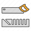 construction tool, cut, cutter, mitre box, pad saw, padsaw, saw icon