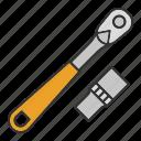 construction tool, equipment, instrument, mechanic, ratchet, repair icon