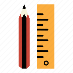 draw, education, engineering, measurement, pencil, scale, student icon